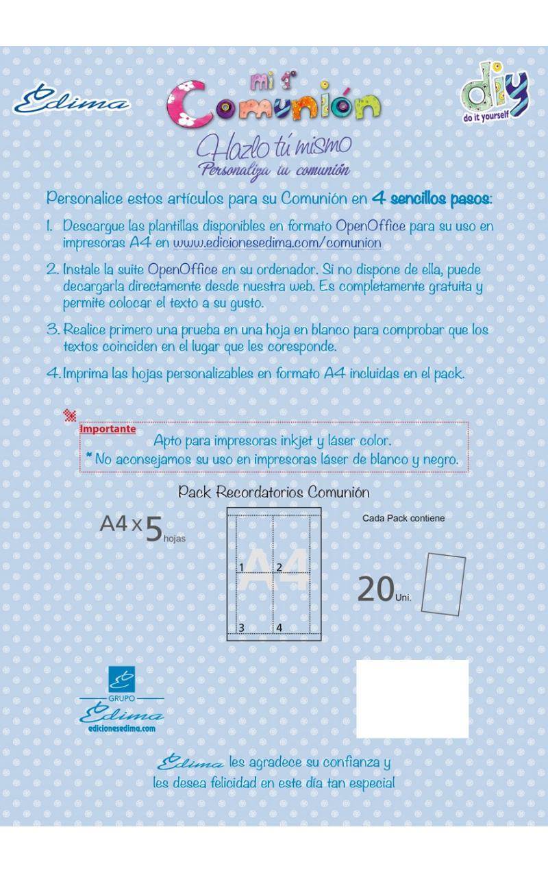 Pack 20 recordatorios comunin edima 400607 pack 20 recordatorios comunin edima 400610 b solutioingenieria Images