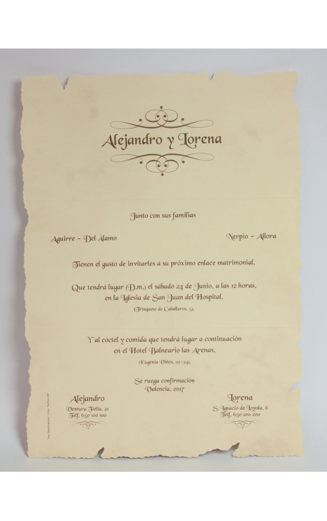 Tarjeta de Boda Edima 100049