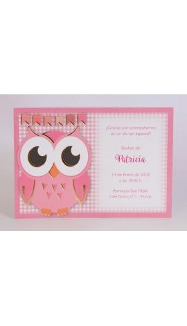 Pack 20 invitaciónes Nacimiento + sobre rosa DIY Edima 170656