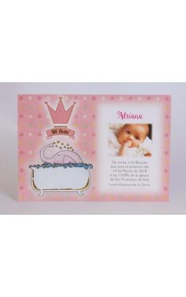 Pack 20 invitaciónes Nacimiento + sobre rosa DIY Edima 170652