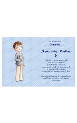 Pack 20 Invitaciones Comunión + Sobre Azul Edima 413841-B