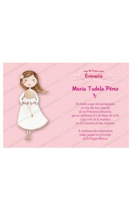 Pack 20 Invitaciones Comunión + Sobre Rosa Edima 413842-B