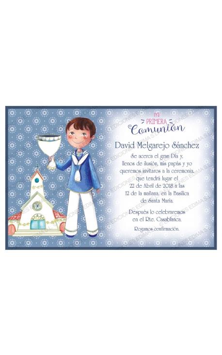 Pack 20 Invitaciones Comunión + Sobre Azul Edima 413843-B