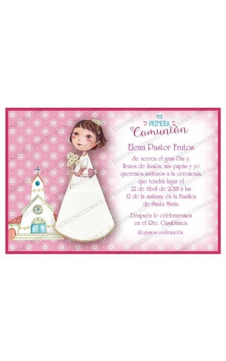 Pack 20 Invitaciones Comunión + Sobre Rosa Edima 413844-B