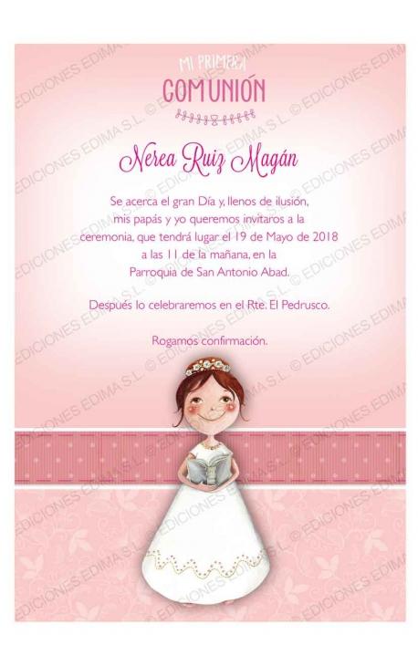 Pack 20 Invitaciones Comunión + Sobre Rosa Edima 413846-B