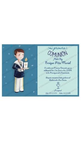 Pack 20 Invitaciones Comunión + Sobre Azul Edima 413847-B
