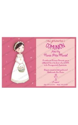 Pack 20 Invitaciones Comunión + Sobre Rosa Edima 413848-B