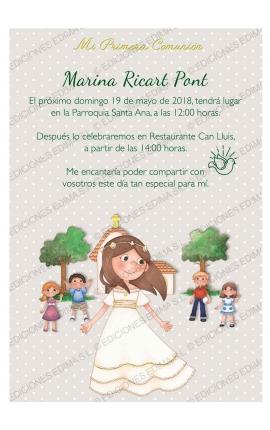 Pack 20 Invitaciones Comunión + Sobre Rosa Edima 413852-B