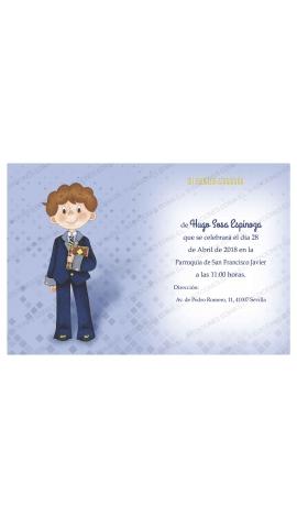 Pack 20 Invitaciones Comunión + Sobre Azul Edima 413853-B