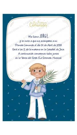 Pack 20 Invitaciones Comunión + Sobre Azul Edima 413855-B
