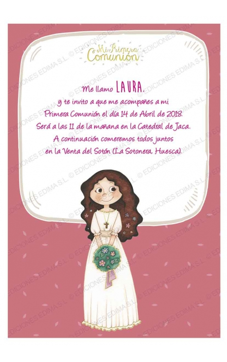Pack 20 Invitaciones Comunión + Sobre Rosa Edima 413856-B