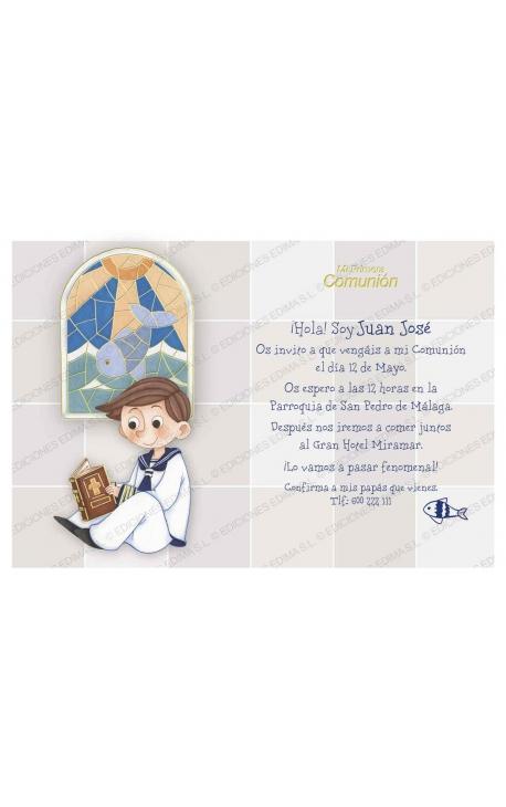 Pack 20 Invitaciones Comunión + Sobre Azul Edima 413857-B