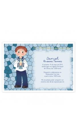 Pack 20 Invitaciones Comunión + Sobre Azul Edima 413975-B
