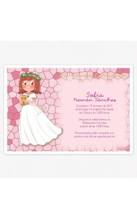 Pack 20 Invitaciones Comunión + Sobre Rosa Edima 413976-B
