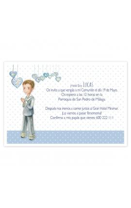Pack 20 Invitaciones Comunión + Sobre Azul Edima 413981-B