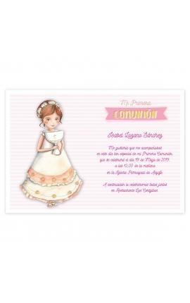 Pack 20 Invitaciones Comunión + Sobre Rosa Edima 413986-B