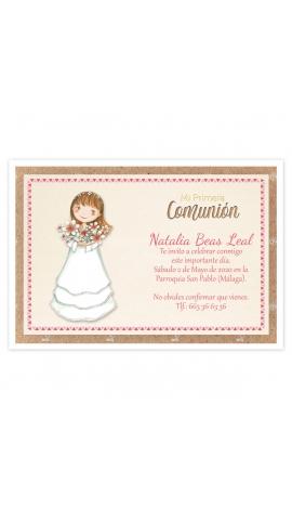 Pack 20 Invitaciones Comunión + Sobre Rosa Edima 413022-B