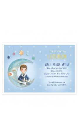 Pack 20 Invitaciones Comunión + Sobre Azul Edima 413023-B