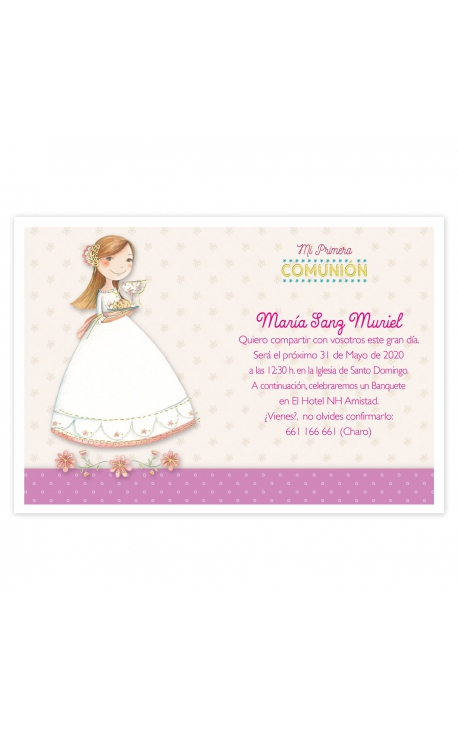 Pack 20 Invitaciones Comunión + Sobre Rosa Edima 413028-B