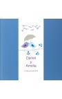 LIBRO DE FIRMAS BODA, AZUL BRILLO, VINTAGE PK700123